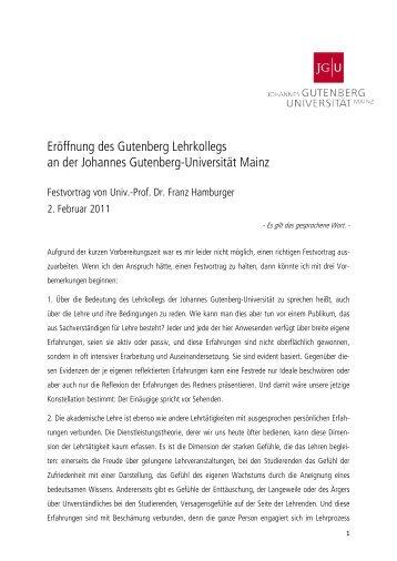 Prof. Dr. Franz Hamburger - Johannes Gutenberg-Universität Mainz
