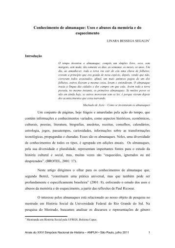 Conhecimento de almanaque - XXVI Simpósio Nacional de História ...