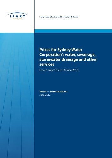 Prices for Sydney Water Corporation's water, sewerage, stormwater ...