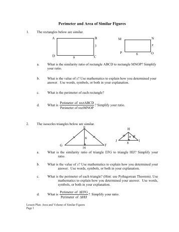 Similar Figures Worksheets With Perimeter: Perimeter of Basic Geometric Figures   Tallahassee Community    ,