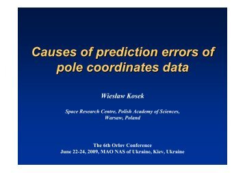 Causes of prediction errors of pole coordinates data