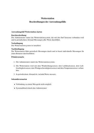 Wetterstation Beschreibungen der Anwendungsfälle - PST