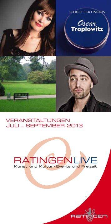 Veranstaltungskalender Juli bis September 2013 - Stadt Ratingen