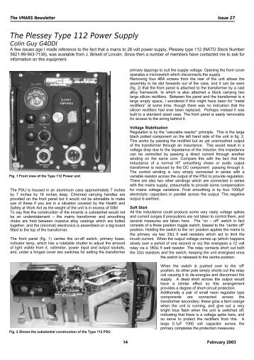 The Plessey Type 112 Power Supply - VMARSmanuals