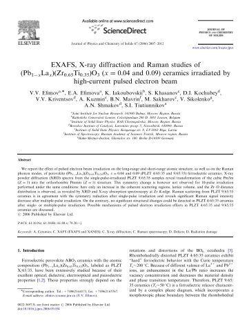 EXAFS, X-ray diffraction and Raman studies of (Pb1ÀxLax)(Zr0 ...
