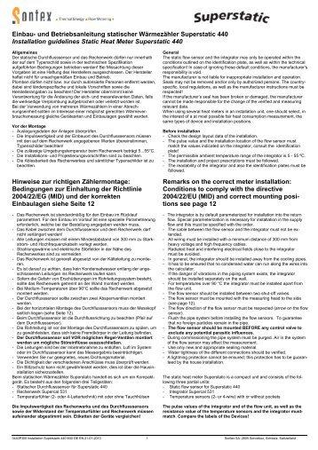 Montageanleitung Superstatic 440 - Sontex SA