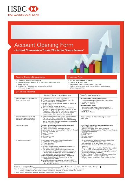 Account Opening Form - Hsbc