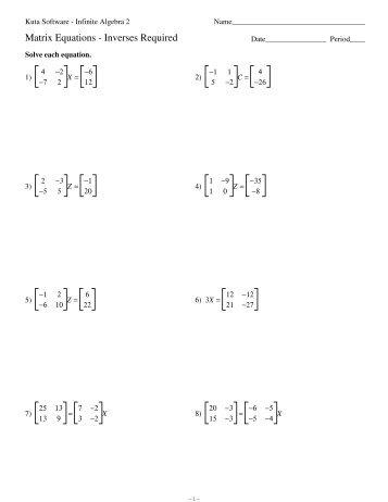 Matrix Equations 2 - Kuta Software