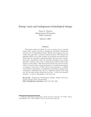 Energy taxes and endogenous technological change - Intertic