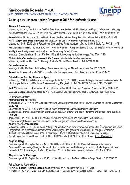 Auszug aus unseren Herbst-Programm 2012 fortlaufender Kurse