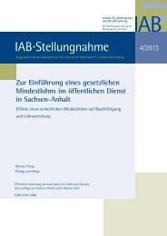Zur Einführung eines gesetzlichen Mindestlohns im ... - IAB