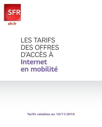 Les tarifs des offres d'accès à Internet en mobilité - Sfr