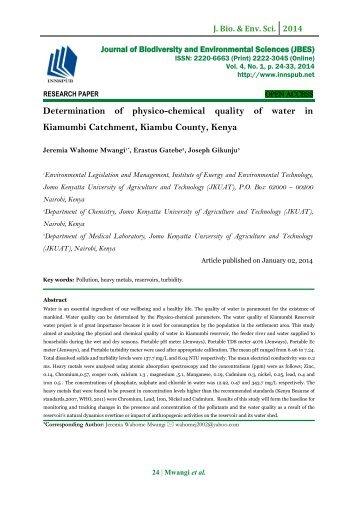 Determination of physico-chemical quality of water in Kiamumbi Catchment, Kiambu County, Kenya