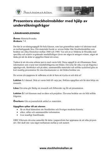 Lärarhandledning och elevmaterial som pdf - Stockholmskällan