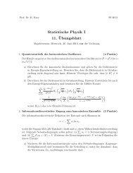 Statistische Physik I 11. ¨Ubungsblatt