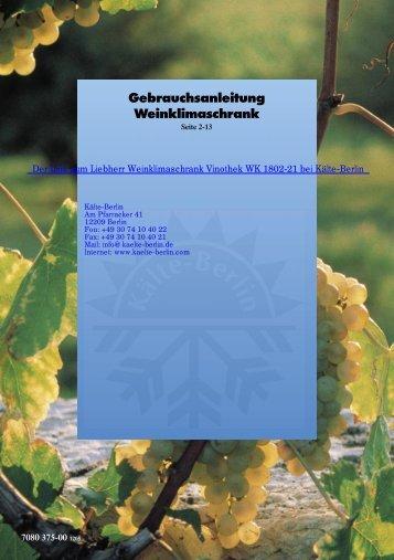 Liebherr Weinklimaschrank Vinothek WK 1802-21 - Kälte Berlin