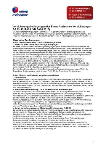Versicherungsbedingungen der Europ Assistance Versicherungs ...