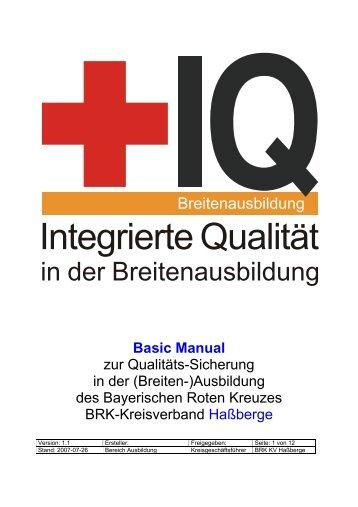 Seminar für Qualitätsbeauftragte - Bayerisches Rotes Kreuz