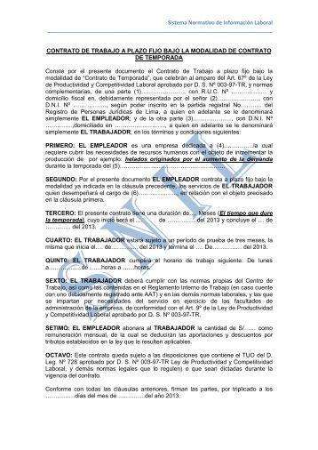 Modelo de contrato de trabajo sujeto a modalidad Contrato trabajo