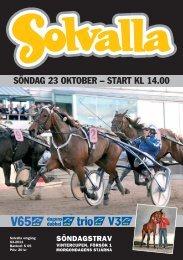 SÖNDAG 23 OKTOBER – START KL 14.00 - Solvalla