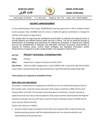 PROJECT REGIONAL COORDINATORS - African Union