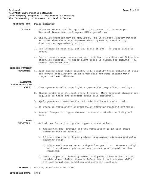 Protocol Page 1 of 2 NICU/NBN Unit Practice Manuals John
