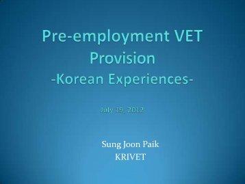 VET in Korea May 16, 2008 - Tokyo Development Learning Center