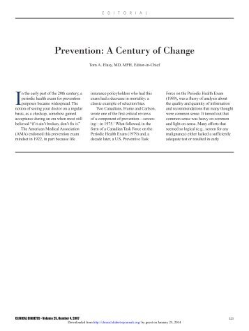 Prevention: A Century of Change - Clinical Diabetes