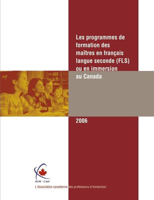 Les programmes de formation des maîtres en français ... - Acpi.ca