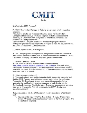 CMAA Construction Manager in Training Program (CMIT)