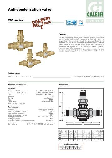 dimensions connections  anti condensation valve caleffi