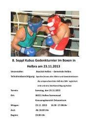 Ausschreibung 8. Seppl Kubus Gedenkturnier - Boxclub-Helbra