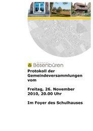 Protokoll der Gemeindeversammlungen vom Freitag, 26. November ...
