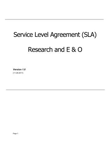Level Agreement Sla  Sample Template