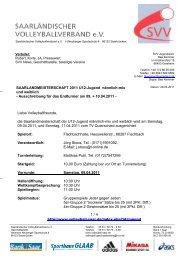1/4 Liebe Volleyballfreunde, die Saarlandmeisterschaft der U12 ...
