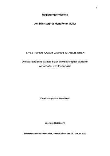 Regierungserklärung von Ministerpräsident Peter Müller - Saarland