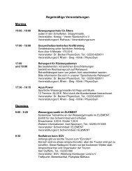 M Regelmäßige Veranstaltungen Montag Dienstag - Oberberg-Aktuell