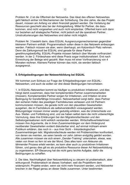 Kooperation in Netzwerken des EQUAL-Programms. Vortrag auf der ...