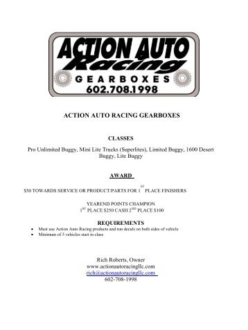 action auto racing gearboxes - arizona short course championship