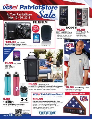At Your PatriotStore May 10 - 20, 2012 74.99 15.99 169.99 9.99
