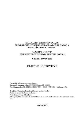 ključne ugotovitve - Ministrstvo za gospodarski razvoj in tehnologijo