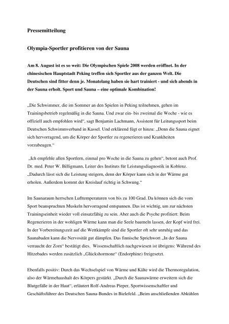 Pressemitteilung Olympia-Sportler profitieren von der Sauna