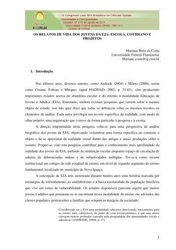 1 OS RELATOS DE VIDA DOS JOVENS DA EJA: ESCOLA ...