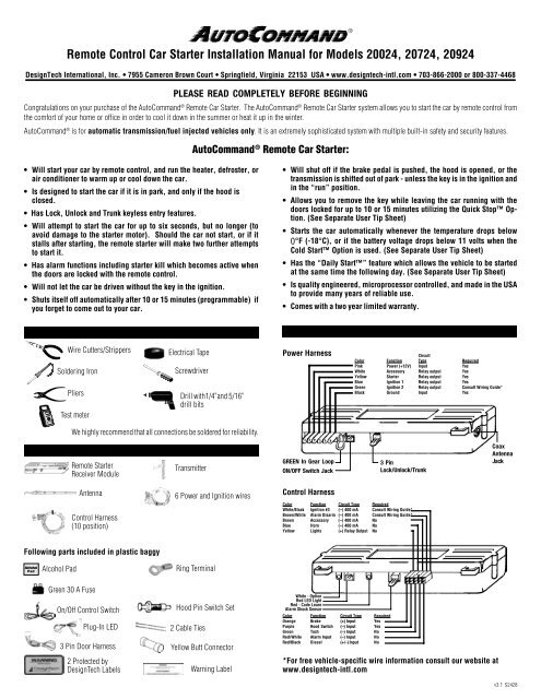 Remote Control Car Starter Installation Manual for ... - Ready Remote