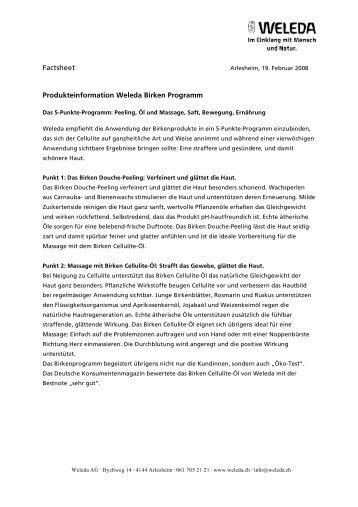 Produkteinformation Weleda Birken Programm