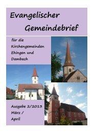 Ausgabe 1/2013 März - April - evangelisch-in-ehingen.de