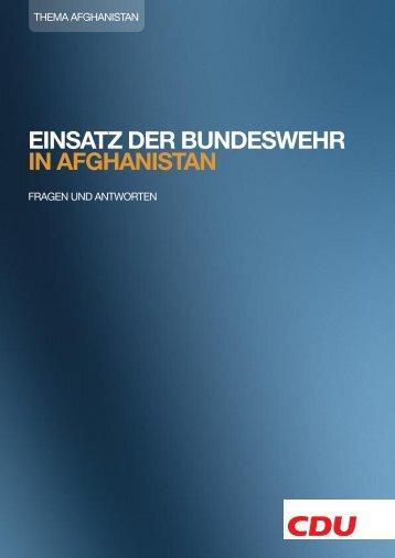 EINSATZ DER BUNDESWEHR IN AFGHANISTAN - CDU ...