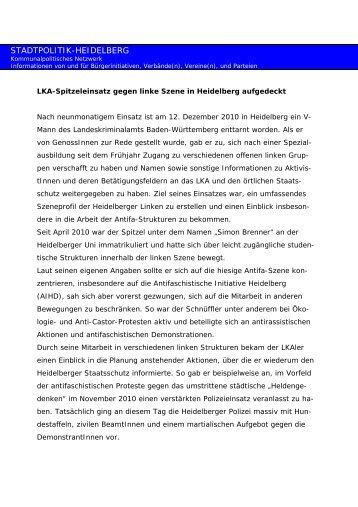 Antifa Initiative HD 14.12.2010 - Stadtpolitik Heidelberg