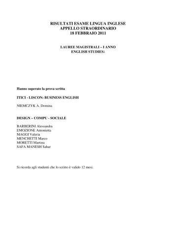 risultati esame lingua inglese appello straordinario 18 febbraio 2011
