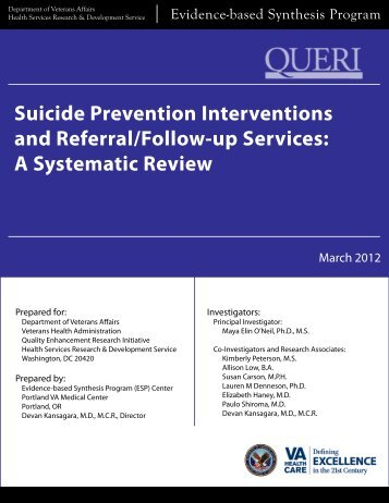 Suicide Prevention Interventions and Referral/Follow-up Services: A ...